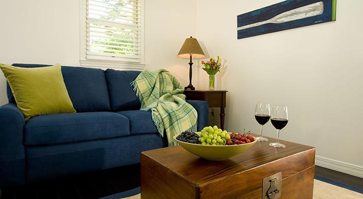 Sitting area in our oceanfront luxury cottages by Camden