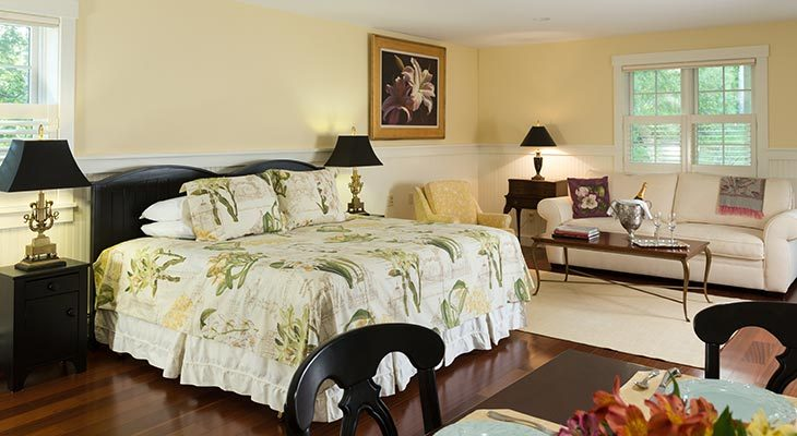 An overview of the Garden House Suite at our Maine Bed and Breakfast