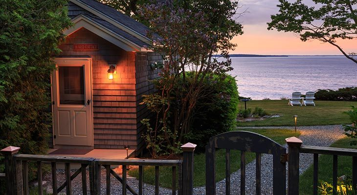 A sunset view from our Maine oceanfront rental