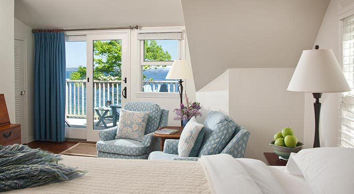 The overview and ocean view from the May Sarton Room at our Maine boutique hotel