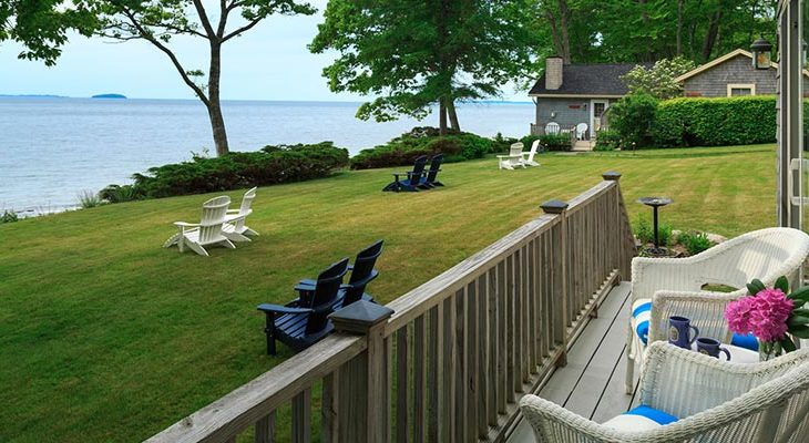 Deck on the Homer Room at our Maine oceanfront rental