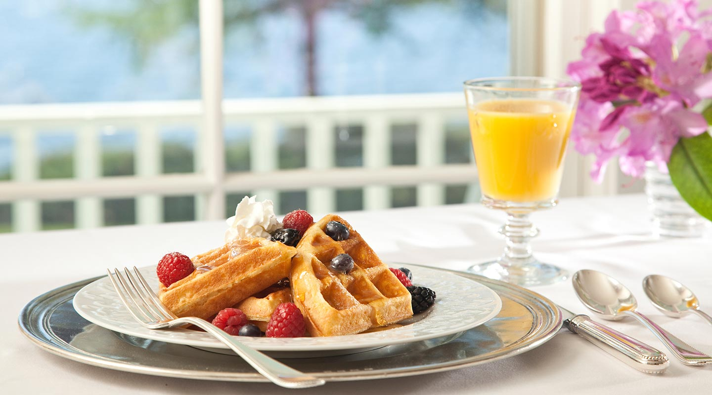 Enjoy homemade waffles at our Bed and Breakfast near Camden, Maine