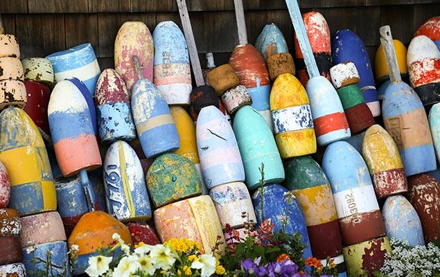 Visit Monhegan Island, lobster buoys