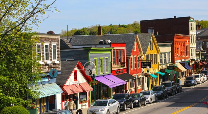 View of town shops in Camden, Maine