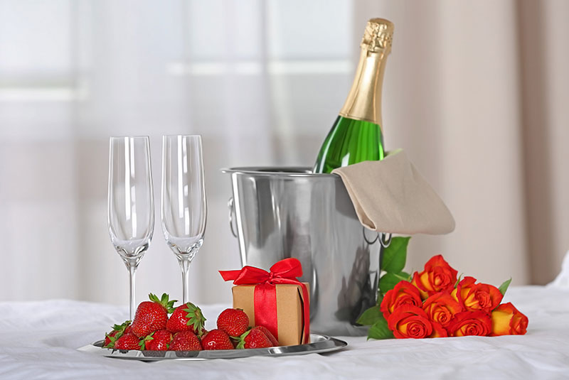 Champagne, Strawberries and Roses