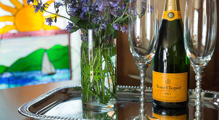 anniversary getaway in Maine - Champagne and Flowers
