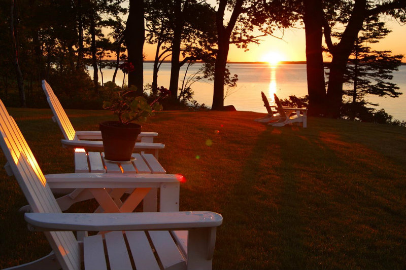 Beautiful sunset from the Adirondack chairs at the Inn at Sunrise Point