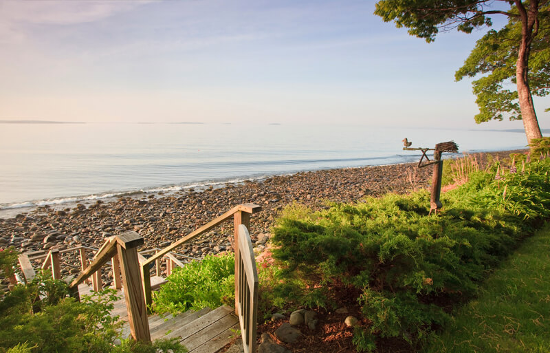 Rocky Maine beach and ocean view