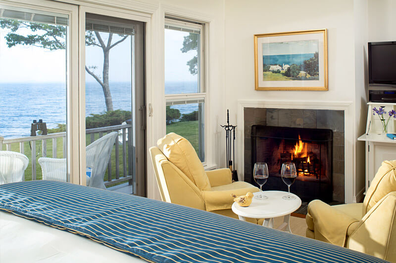 oceanfront cottage with view and fireplace