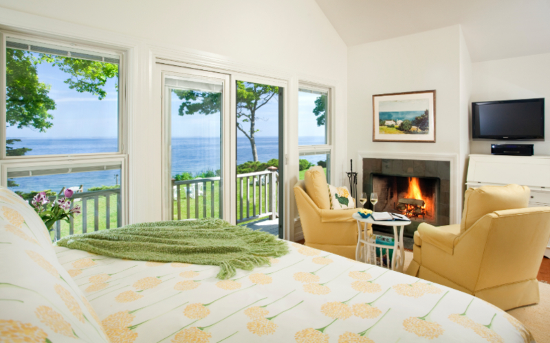 Luxury Guest Suite with Water Views and Fireplace on a Day Trip to Maine